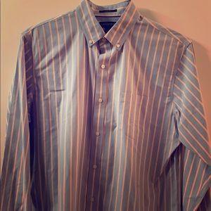 LAND'S END - Men's L - Blue/Yellow Striped Shirt